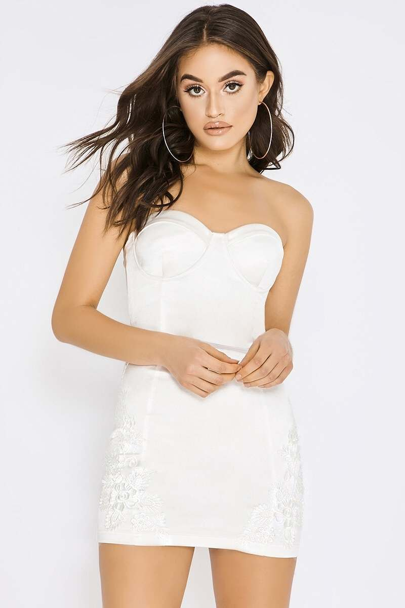 white satin applique dress
