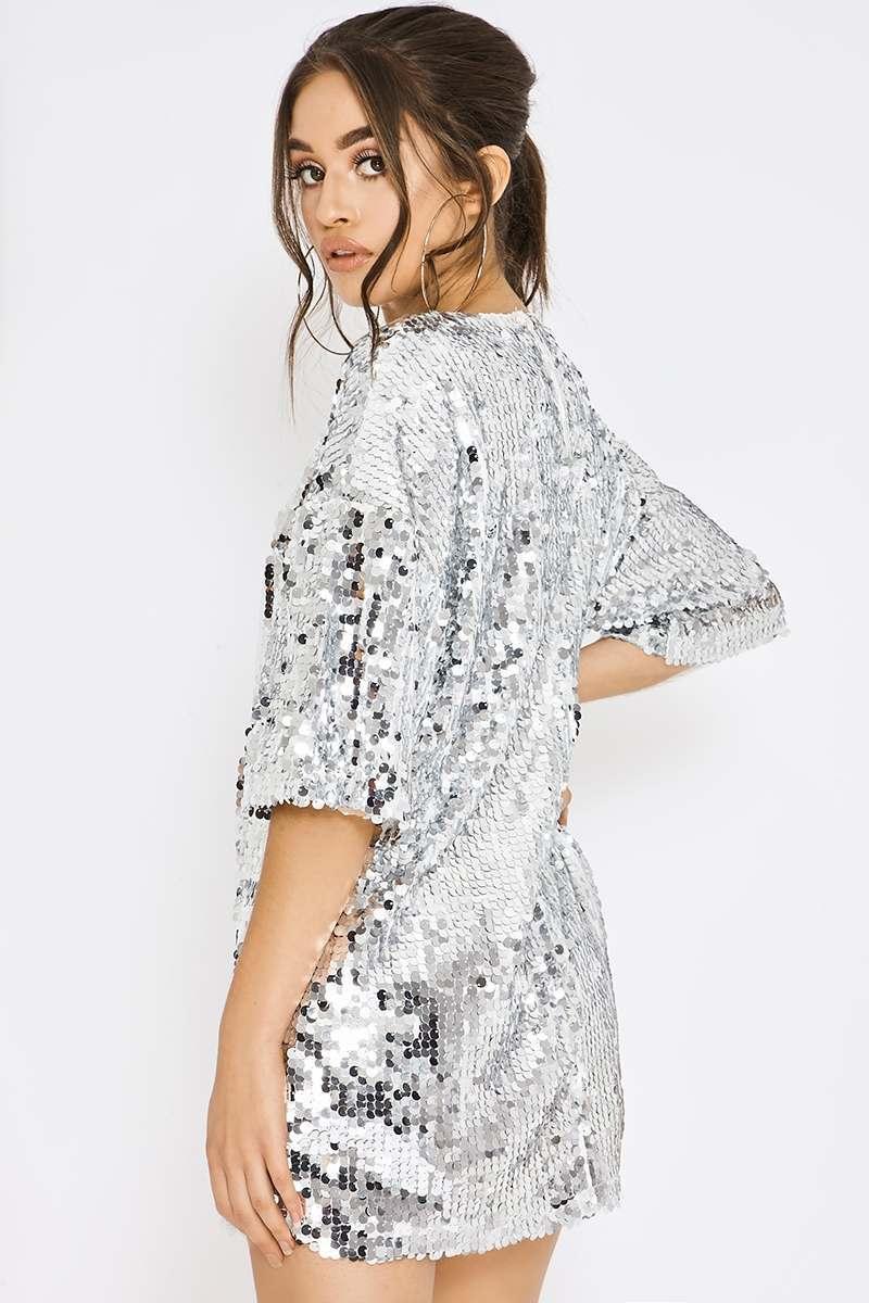 white sequin tshirt dress