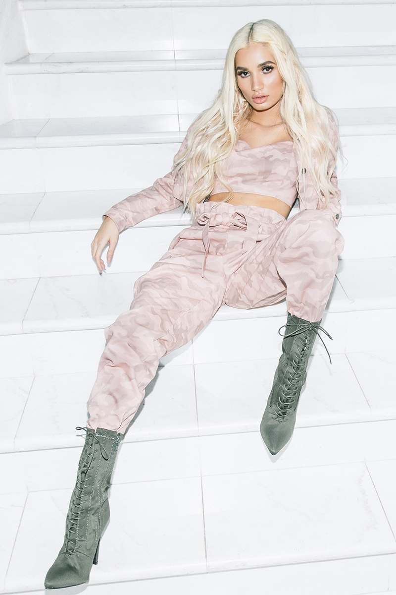 pink camo combat paperbag waist trousers