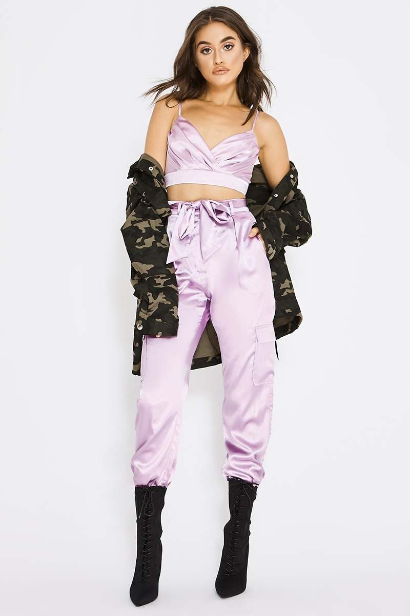 lilac satin combat trousers