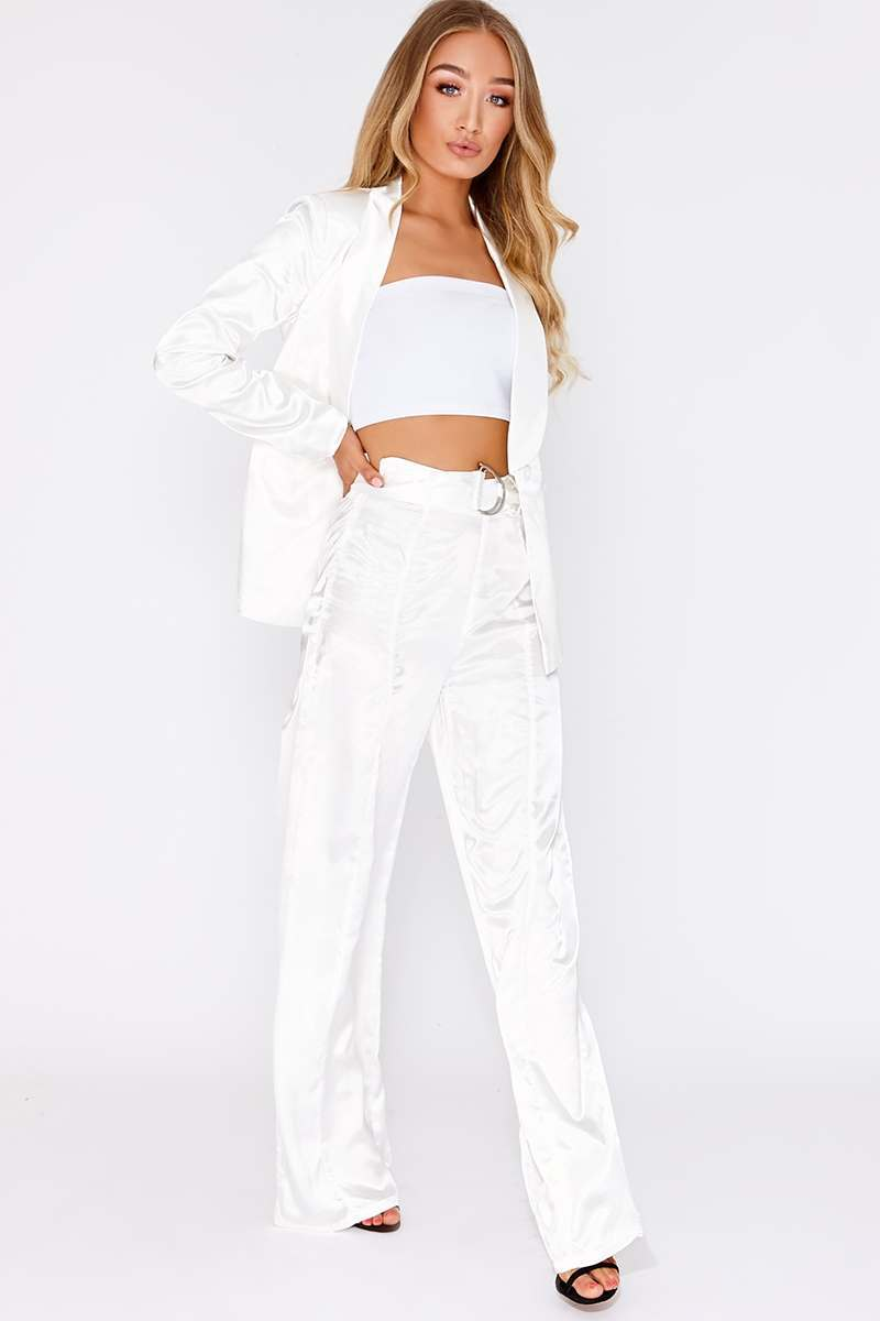 white satin d ring wide leg trousers