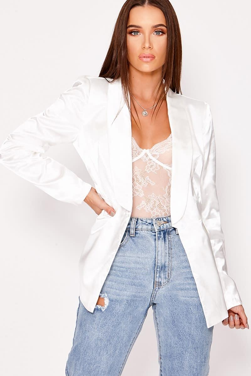 white satin blazer jacket