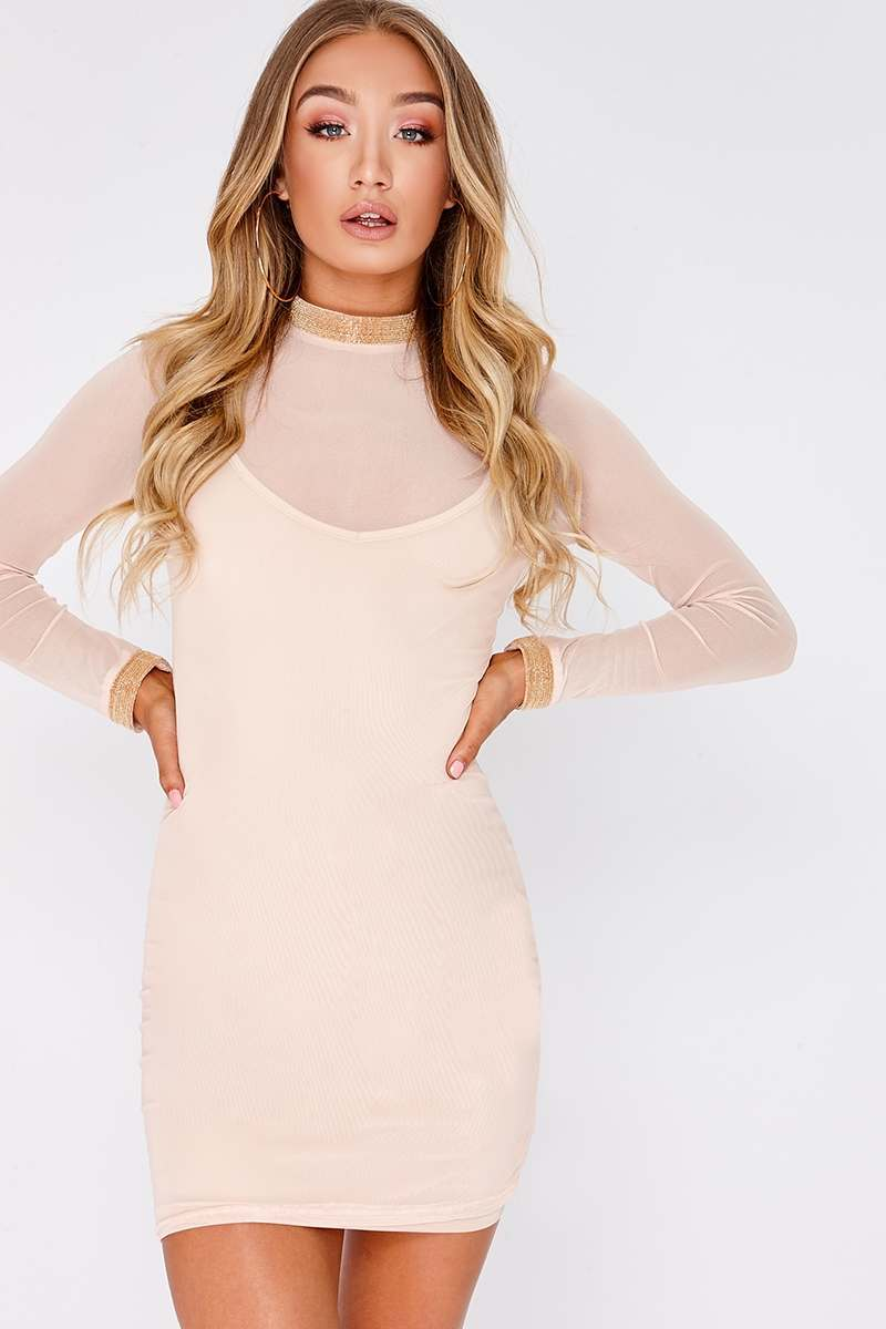 nude power mesh chain trim mini dress