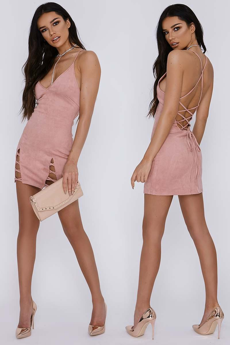 rose v front lace up detail faux suede slip dress