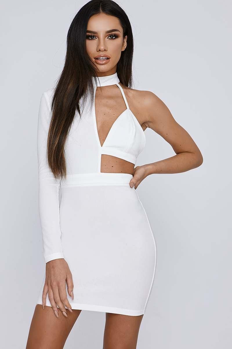 white asymmetric high neck mini dress