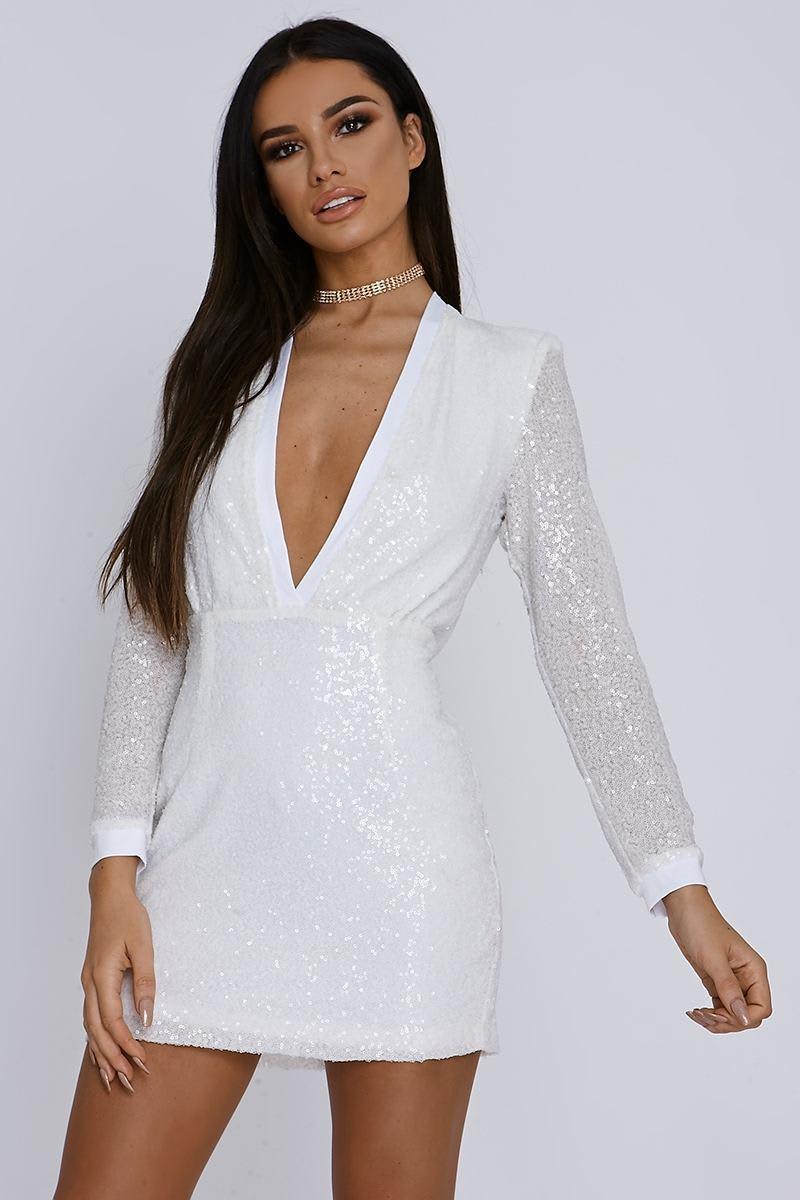white micro sequin plunge bodycon dress