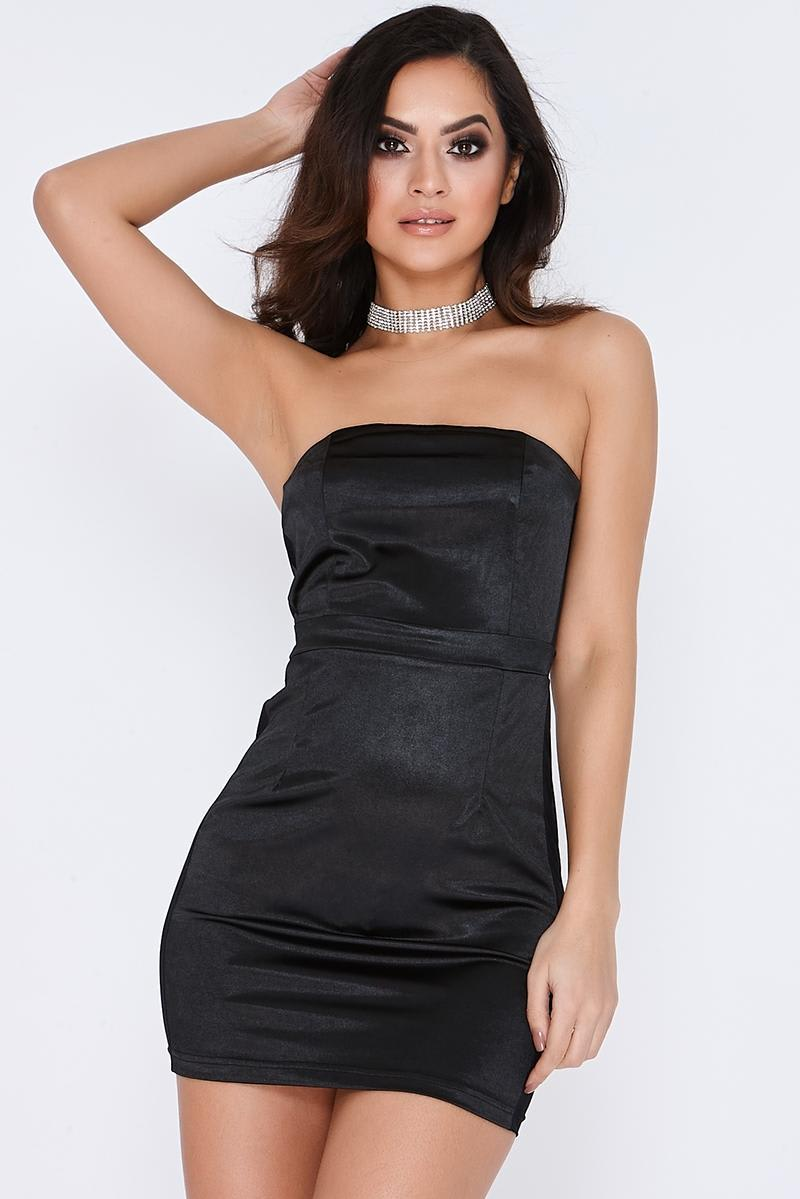 black satin mesh panel bandeau dress