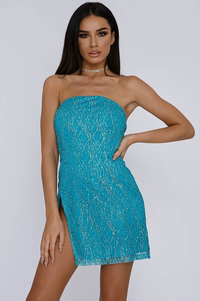 WEMI TURQUOISE GLITTER THIGH SPLIT BANDEAU MINI DRESS