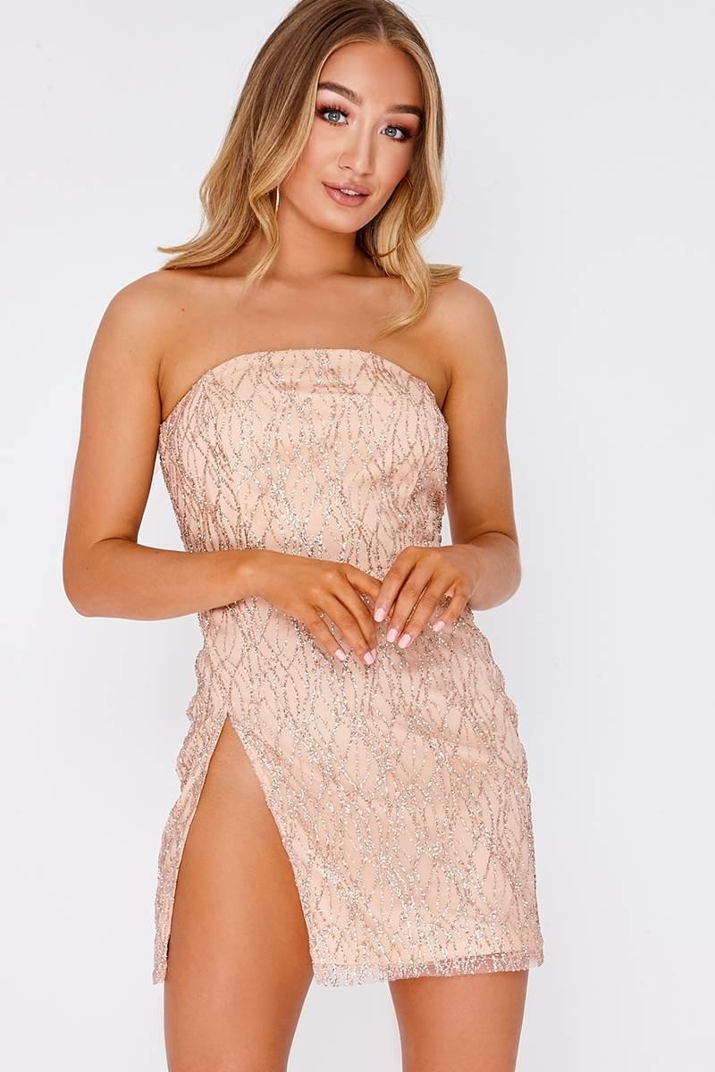 rose gold glitter thigh split bandeau mini dress