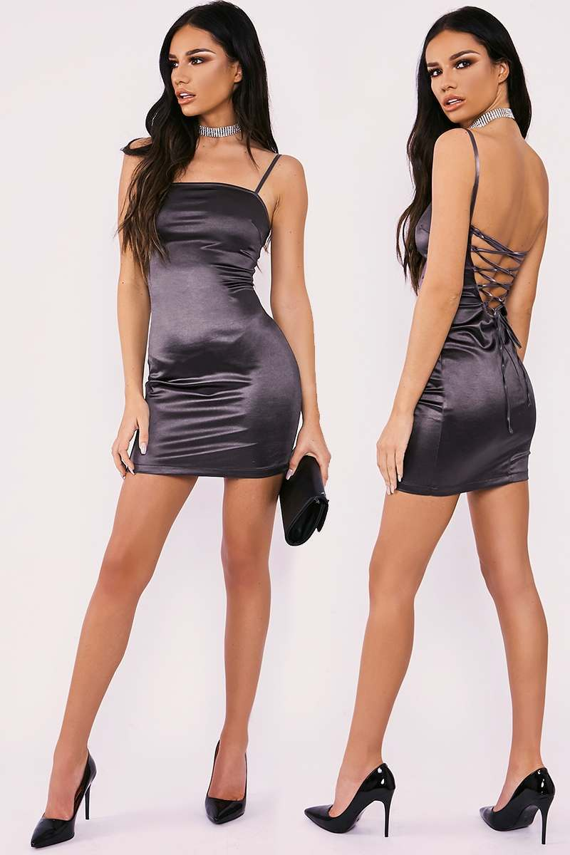 JALENNE CHARCOAL LACE UP STRETCH SATIN MINI DRESS
