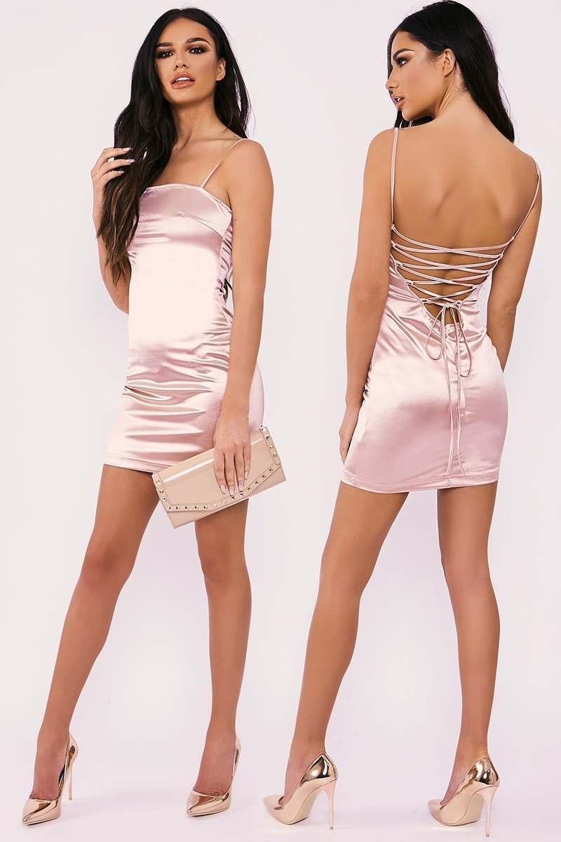 pink lace up stretch satin mini dress
