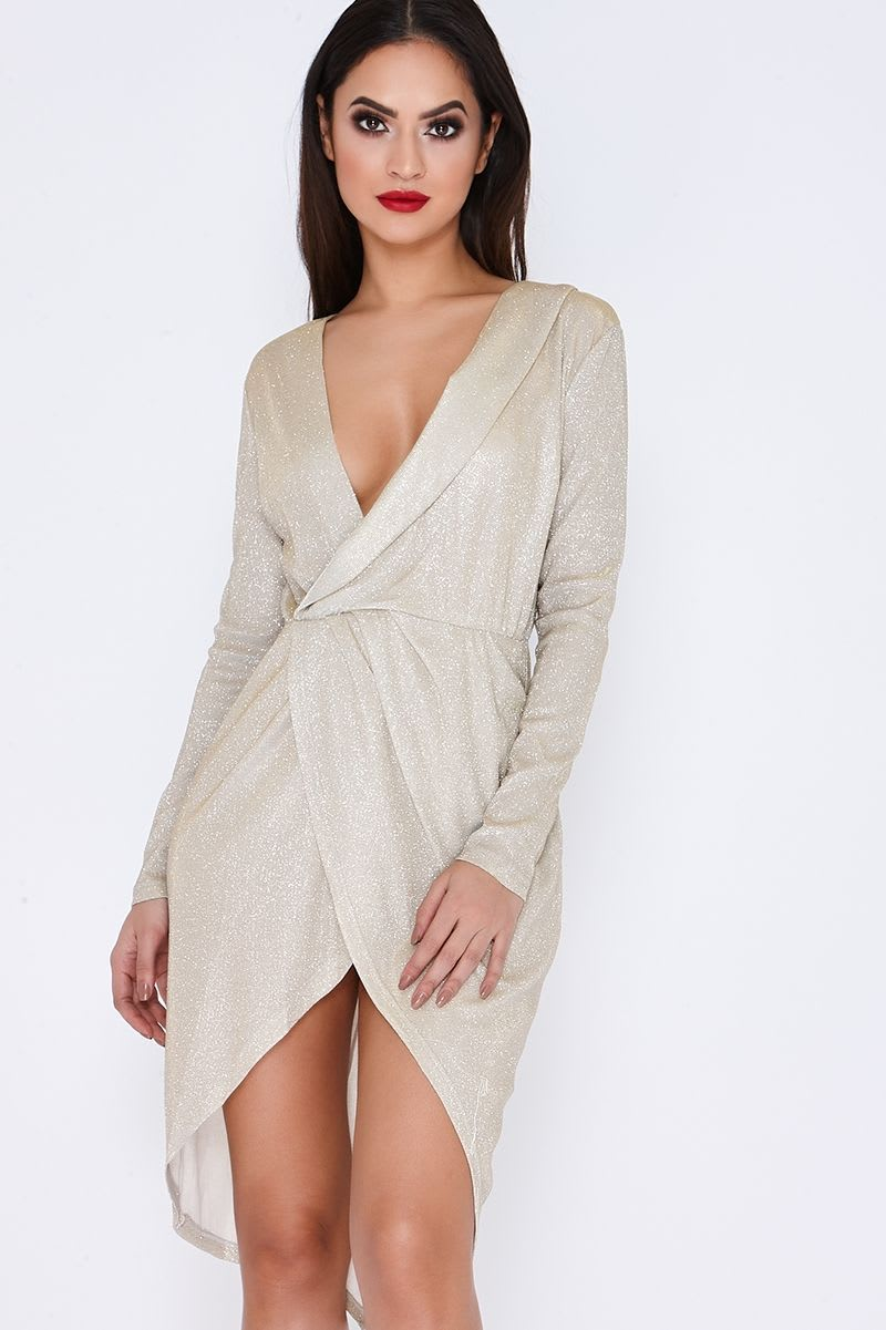 pale gold metallic plunge wrap midi dress