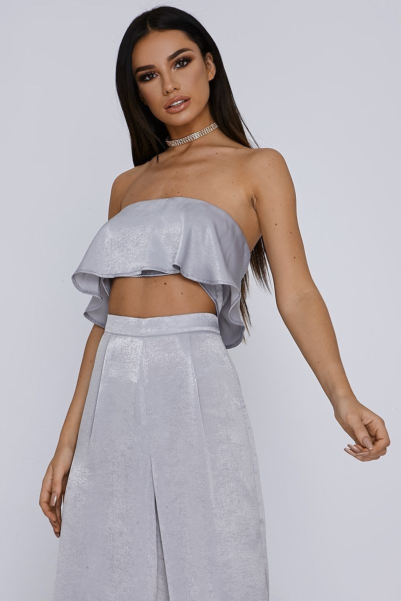 SARAH ASHCROFT GREY SATIN FRILL BANDEAU TOP