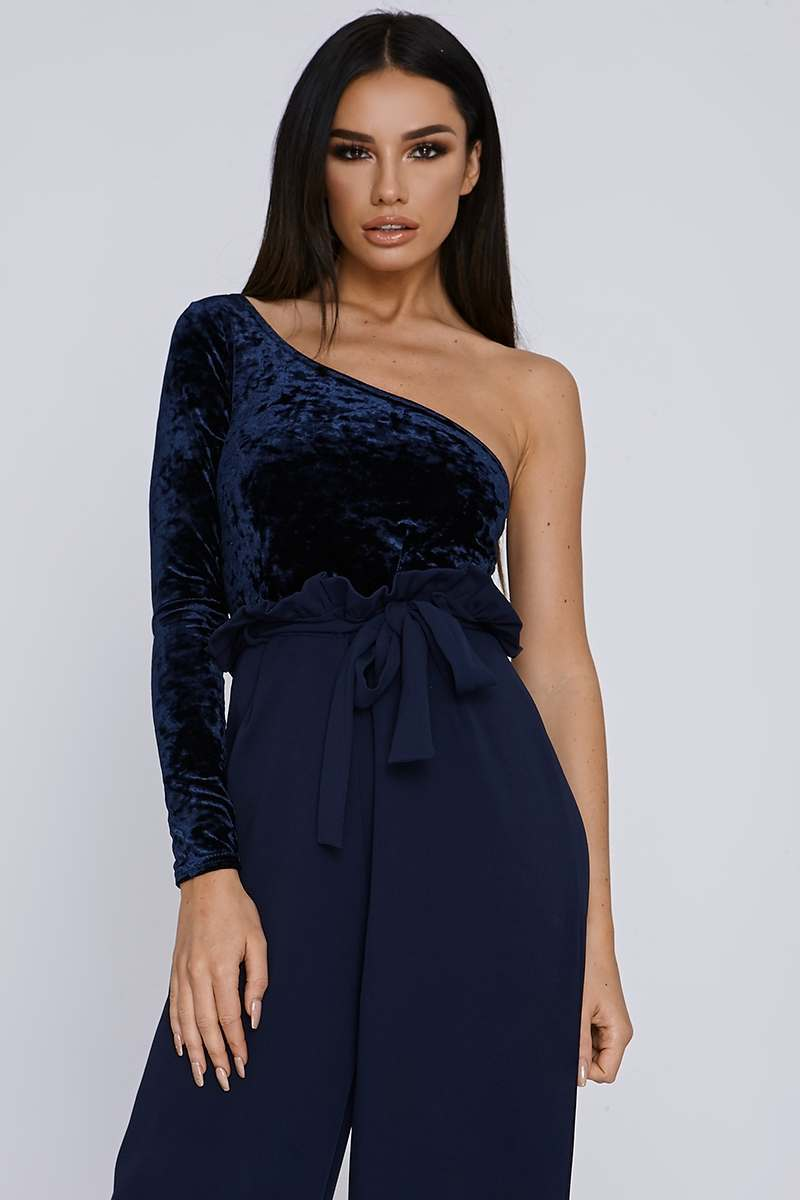 navy crushed velvet one sleeve bodysuit