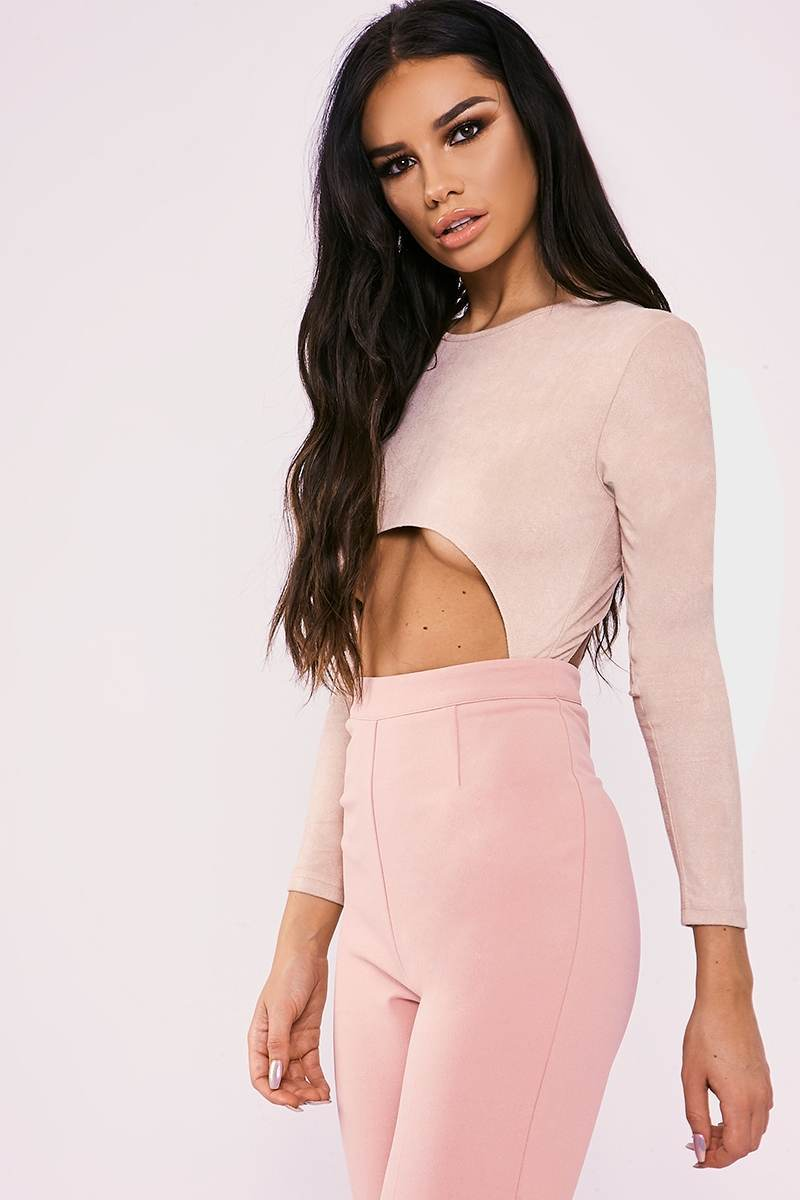 pink faux suede cut out high leg bodysuit