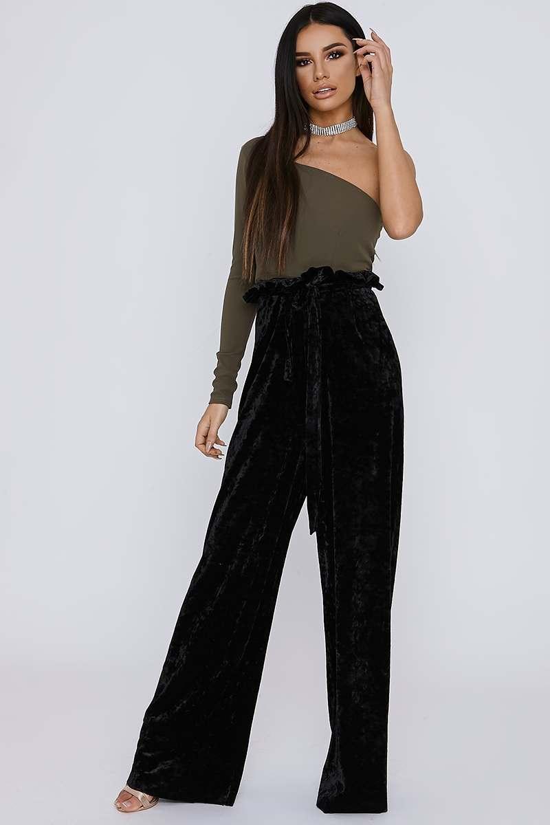 black crushed velvet paperbag waist trousers