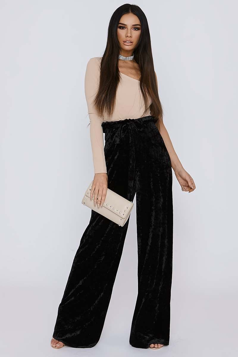 SARAH ASHCROFT TALL BLACK CRUSHED VELVET PAPERBAG WAIST TROUSERS