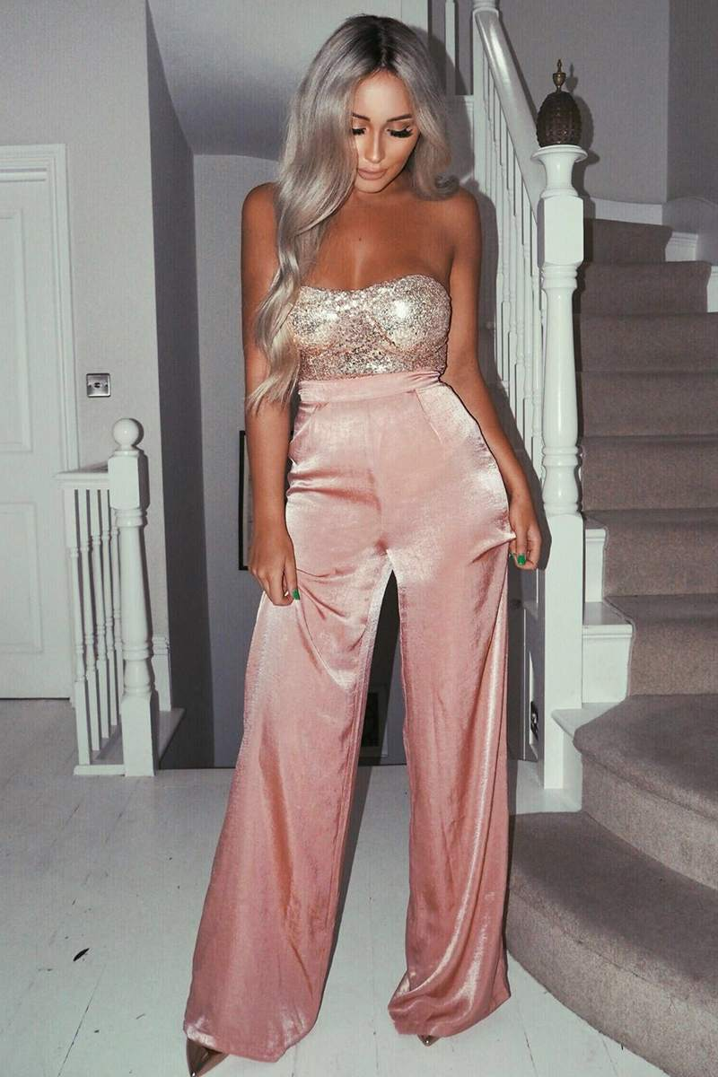 blush satin palazzo trousers