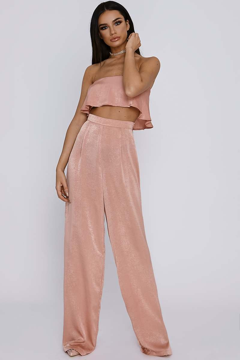 tall blush satin palazzo trousers