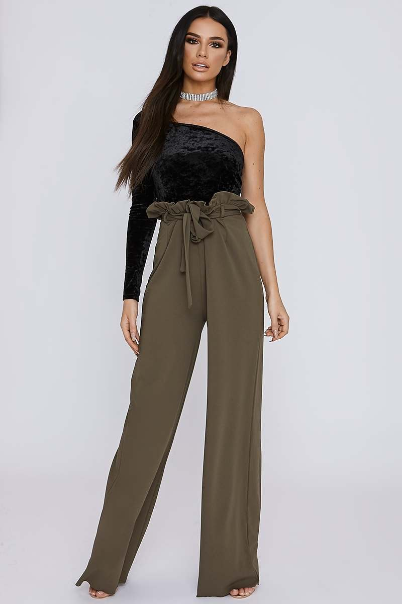 tall khaki crepe paperbag trousers