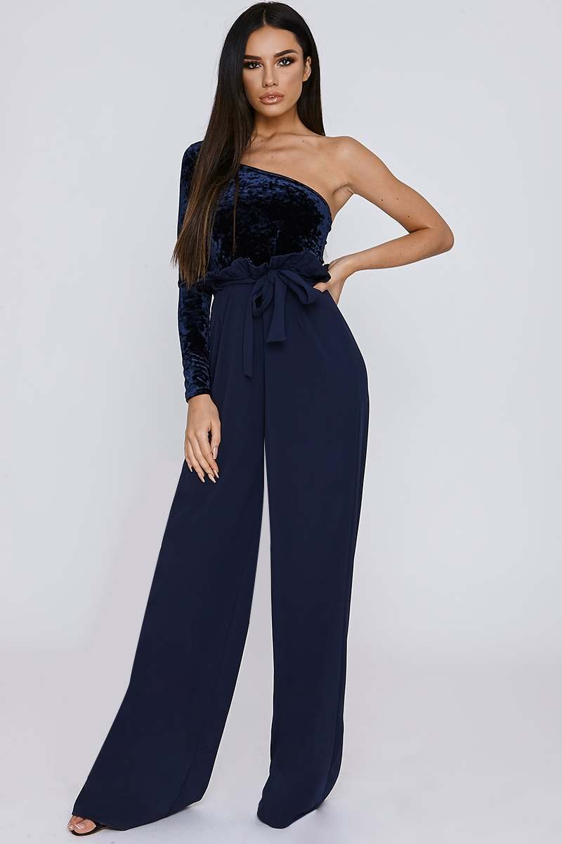 navy crepe paperbag trousers