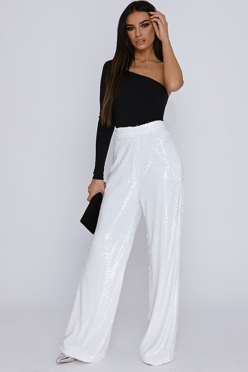 tall white sequin palazzo trousers