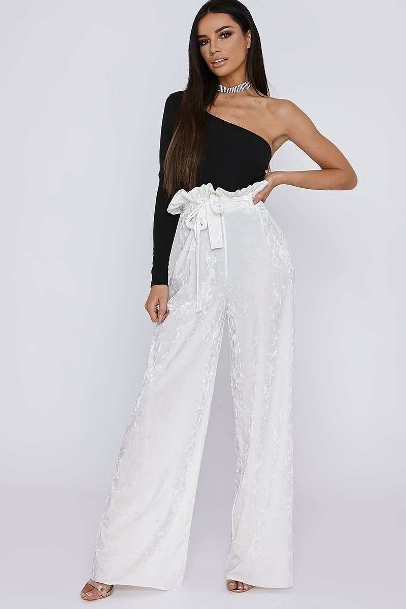 SARAH ASHCROFT WHITE CRUSHED VELVET PAPERBAG WAIST TROUSERS