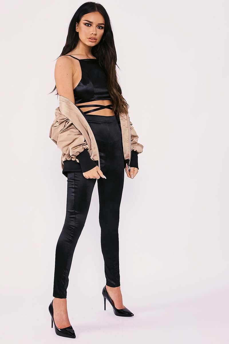 black stretch satin high waisted leggings