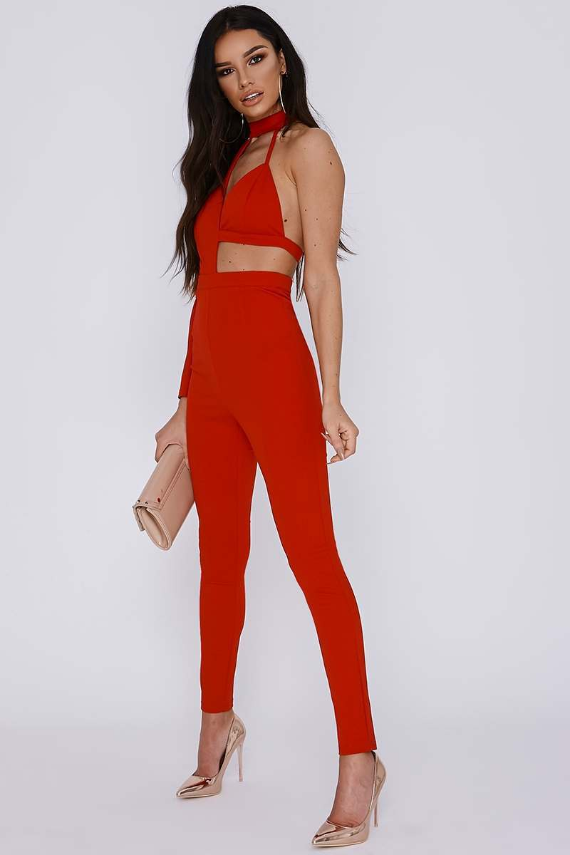 tall red asymmetric high neck jumpsuit