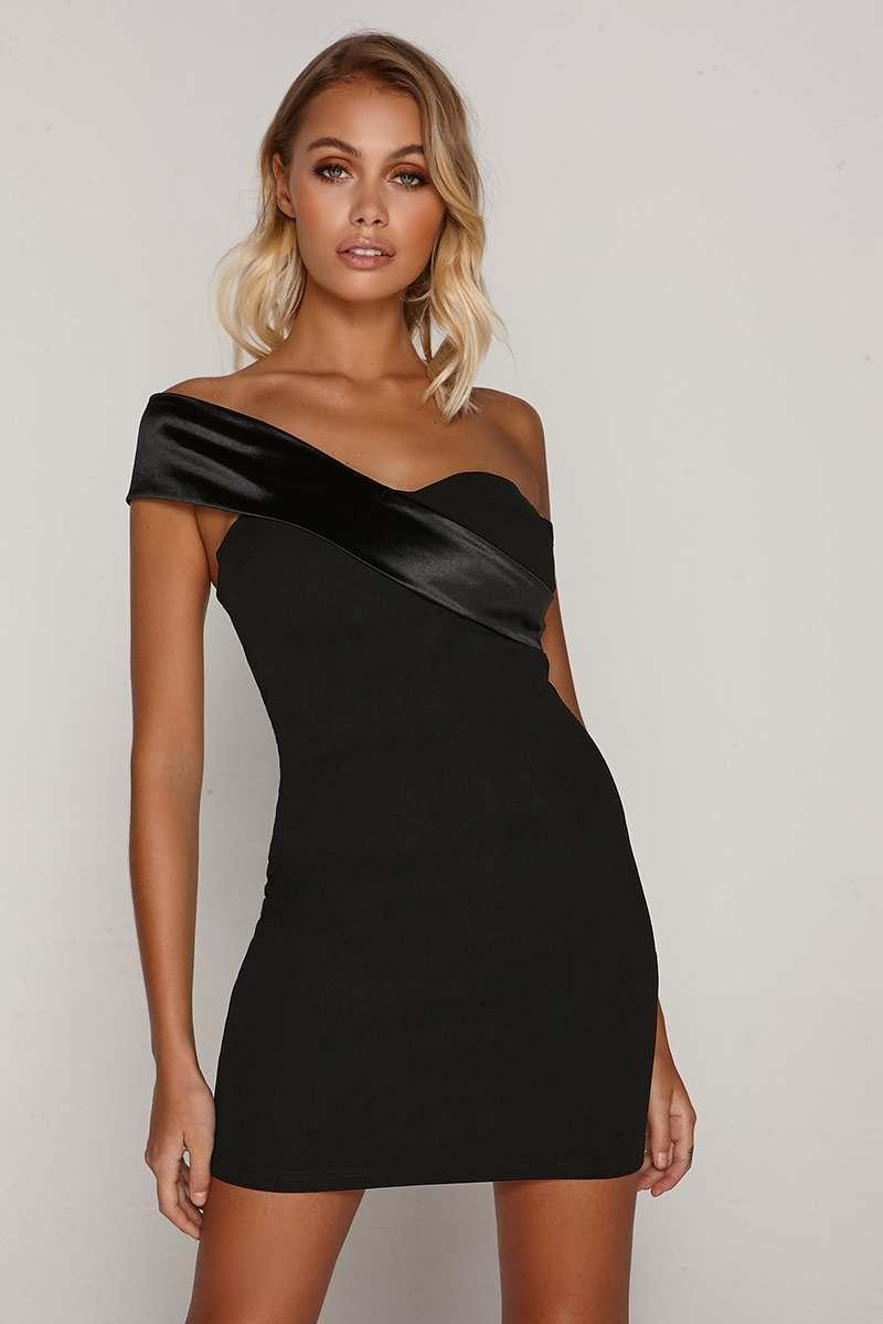 TAMMY HEMBROW BLACK ASYMMETRIC NECK DRESS