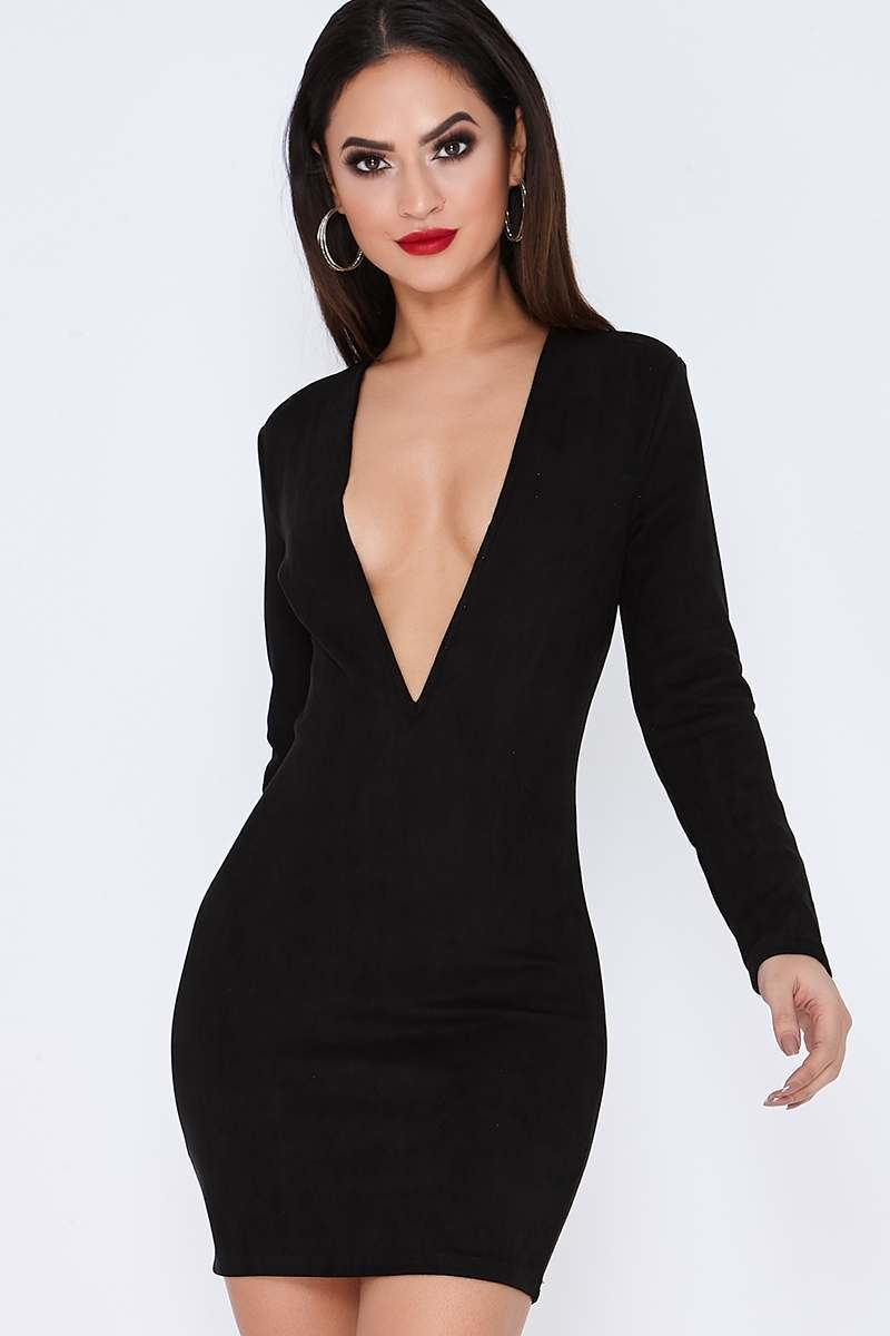 black suede plunge mini dress