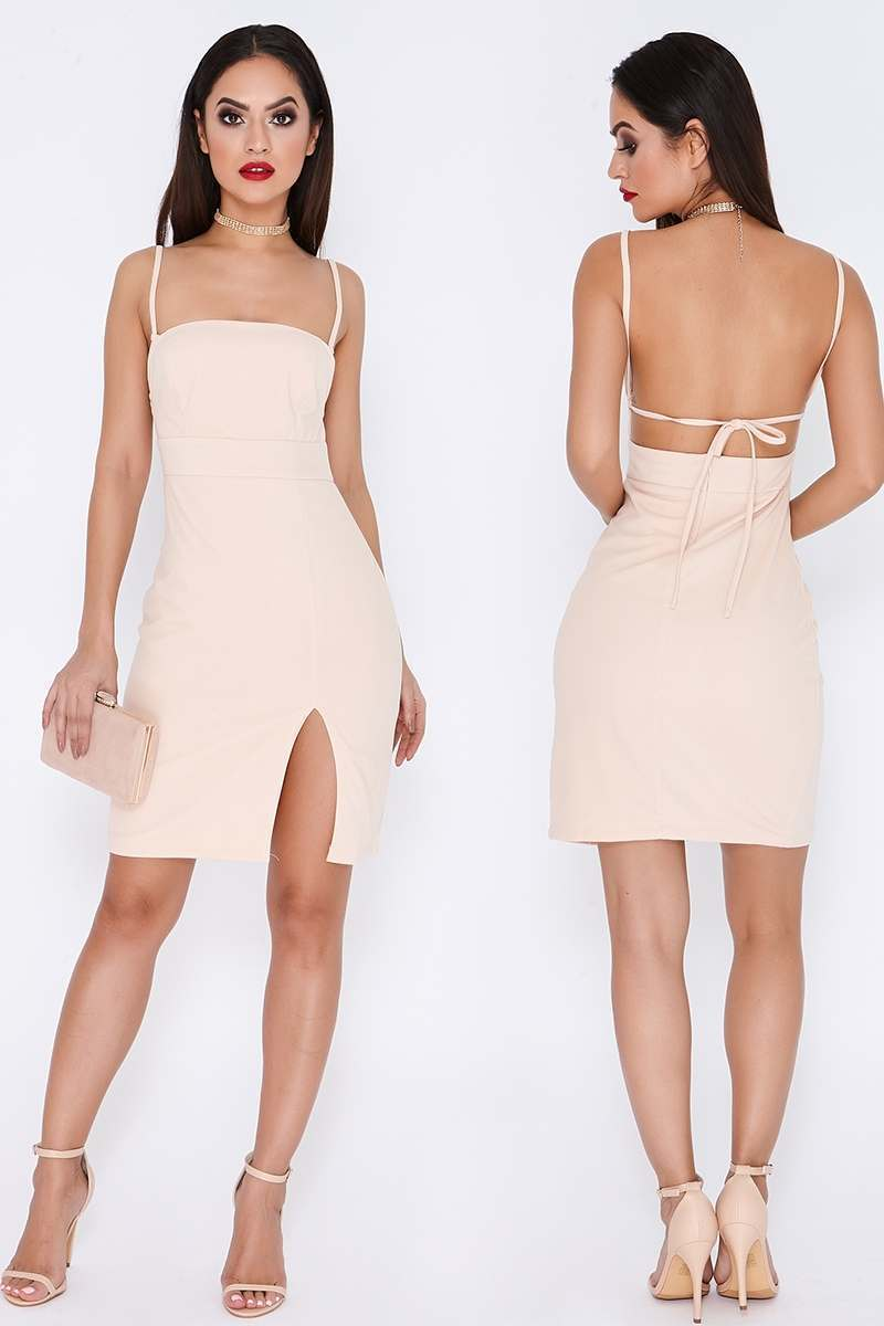 TAMMY HEMBROW NUDE SQUARE NECK THIGH SPLIT DRESS