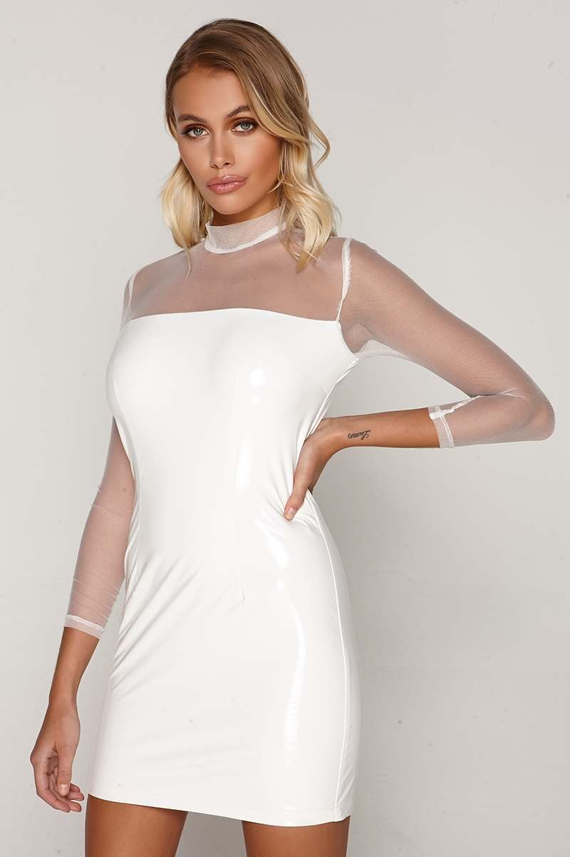 TAMMY HEMBROW WHITE MESH SLEEVE VINYL MINI DRESS