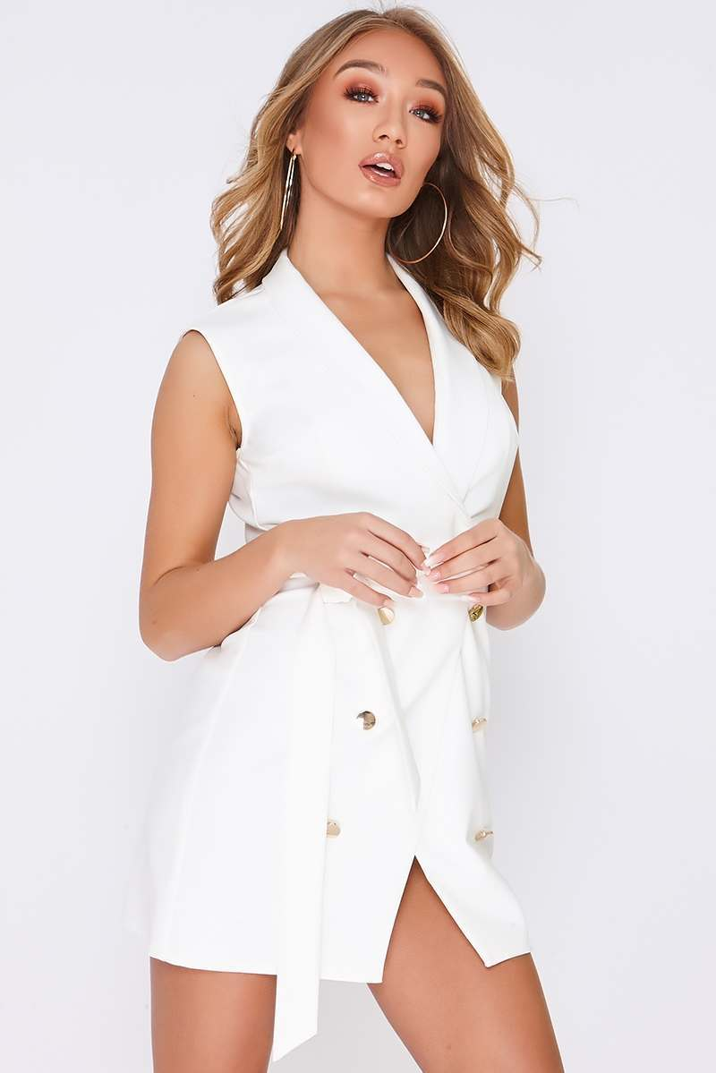 TAMMY HEMBROW WHITE WRAP FRONT BLAZER DRESS
