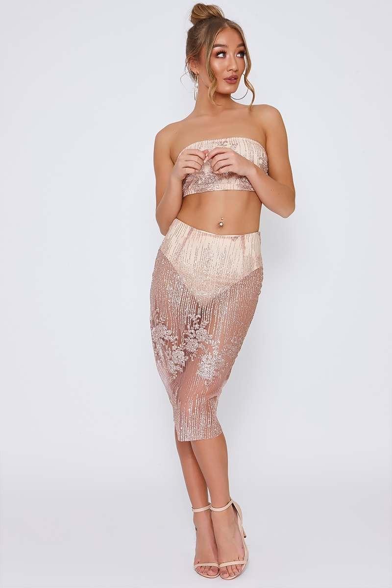 rose gold glitter mesh midi skirt