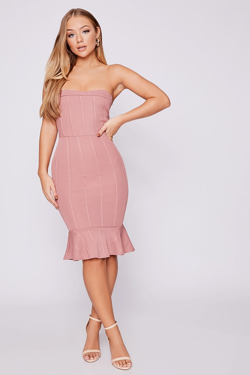 BILLIE FAIERS ROSE BANDEAU BANDAGE PEPHEM MIDI DRESS