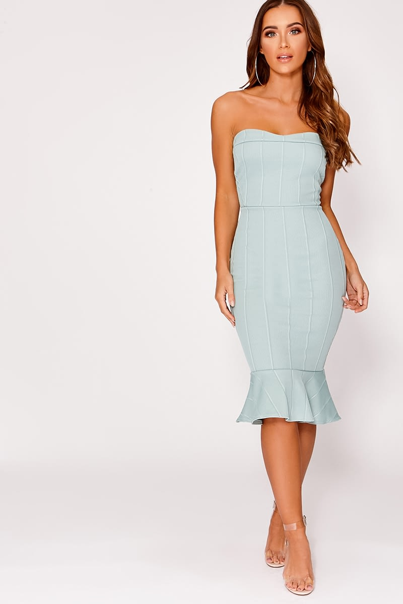 BILLIE FAIERS MINT BANDEAU BANDAGE PEPHEM MIDI DRESS