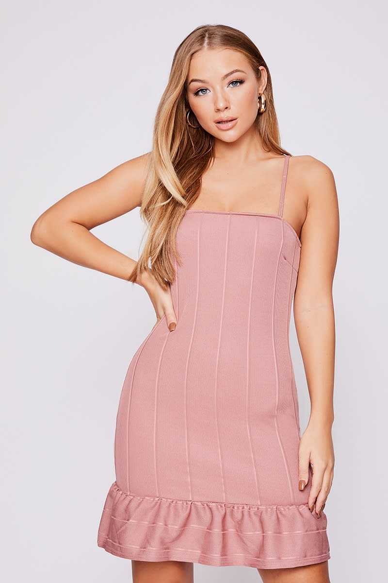 BILLIE FAIERS ROSE BANDAGE PEPLUM MINI DRESS