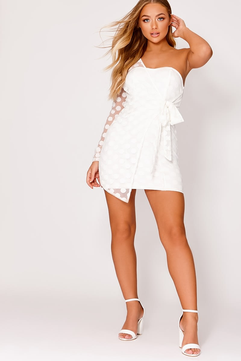 BILLIE FAIERS WHITE MESH POLKA DOT ONE SHOULDERED DRESS