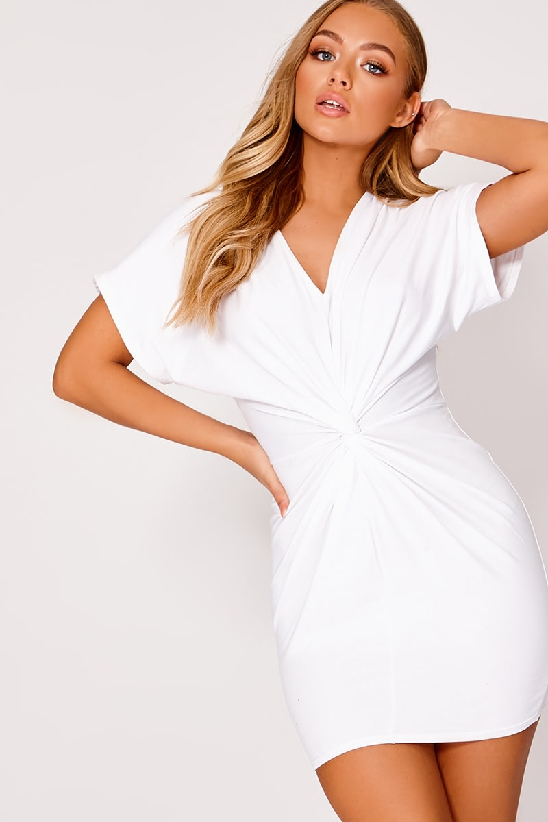 BILLIE FAIERS WHITE KNOT FRONT T SHIRT DRESS