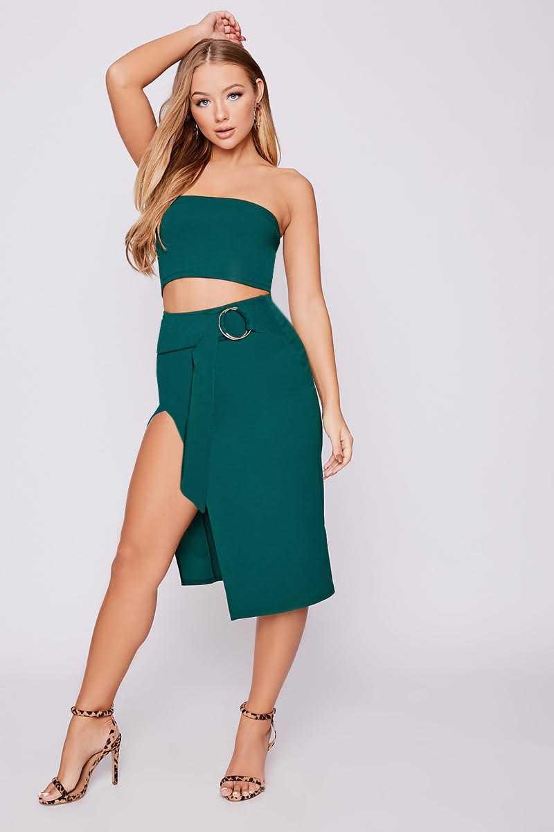 BILLIE FAIERS GREEN RING DETAIL FRONT SPLIT CO-ORD MIDI SKIRT