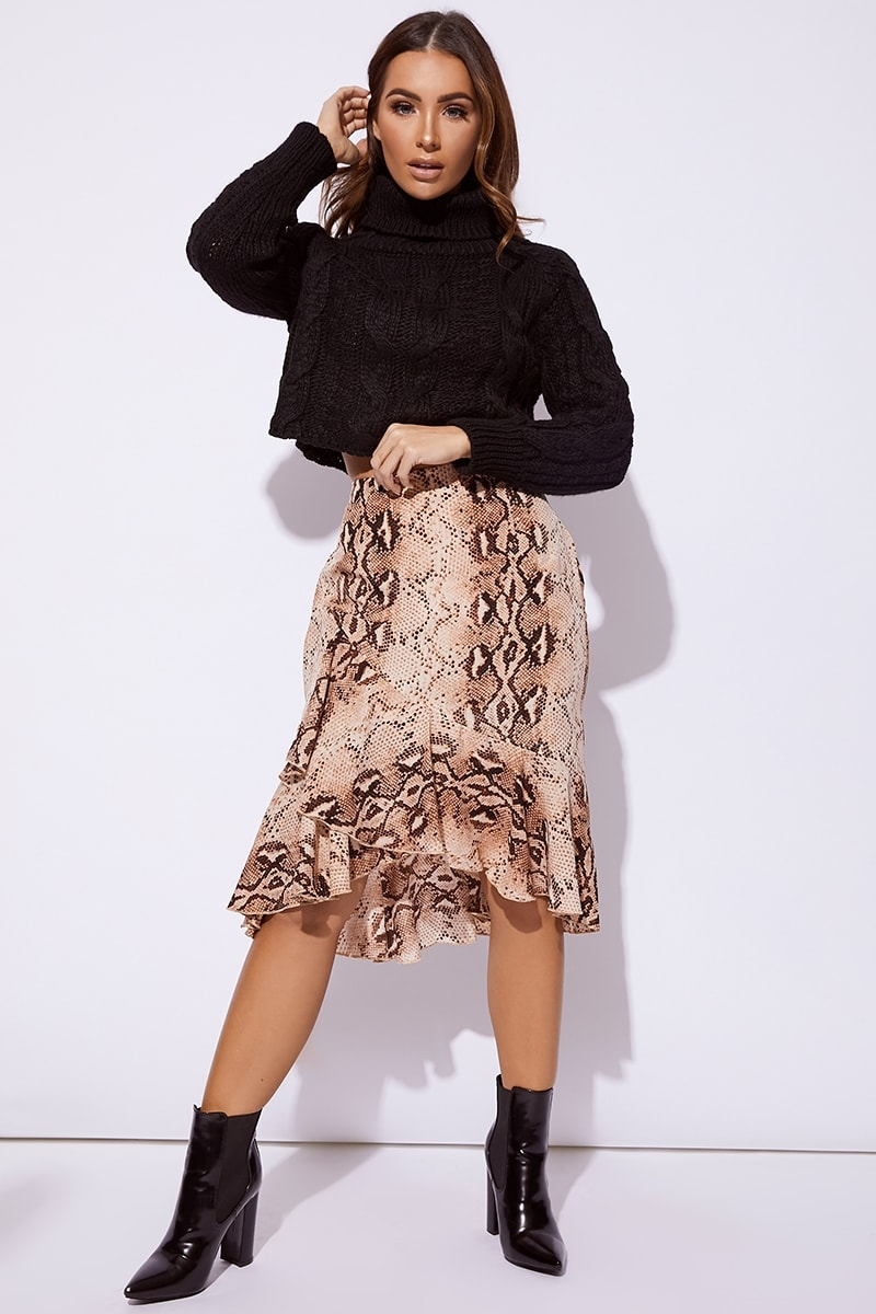 BILLIE FAIERS NUDE SNAKE PRINT WRAP CO-ORD MIDI SKIRT