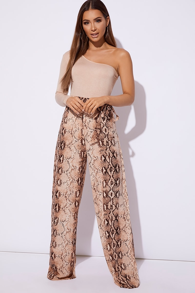 BILLIE FAIERS NUDE SNAKE PRINT PALAZZO TROUSERS