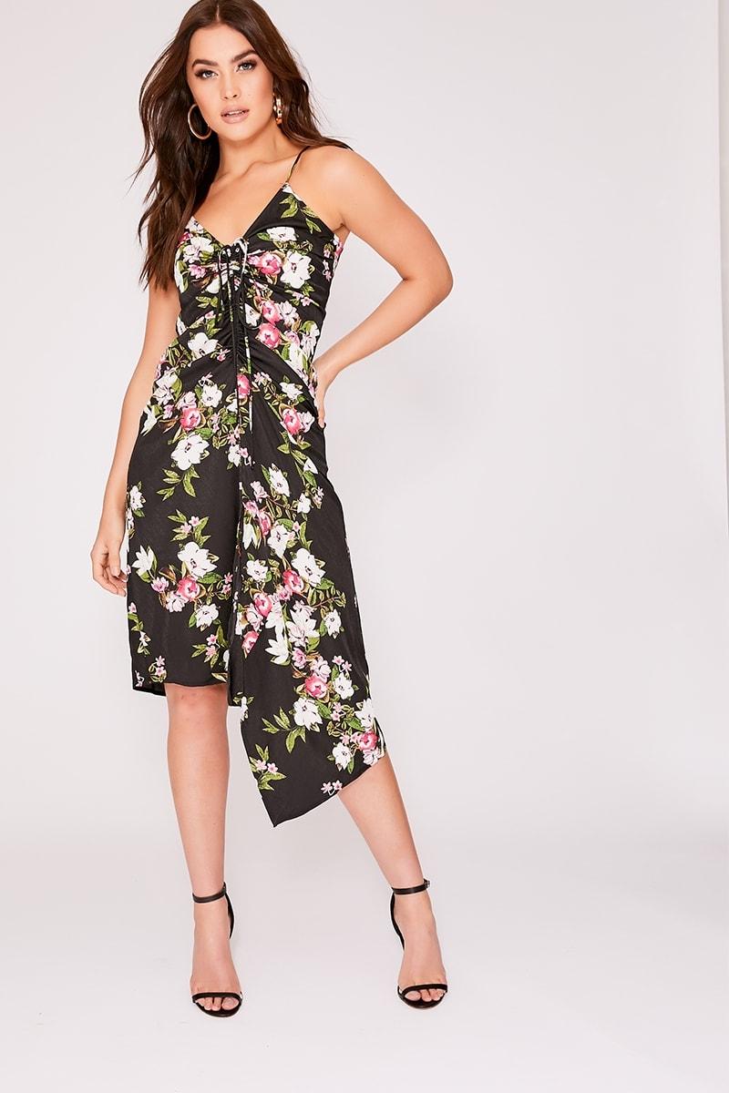 black floral ruched front midi dress