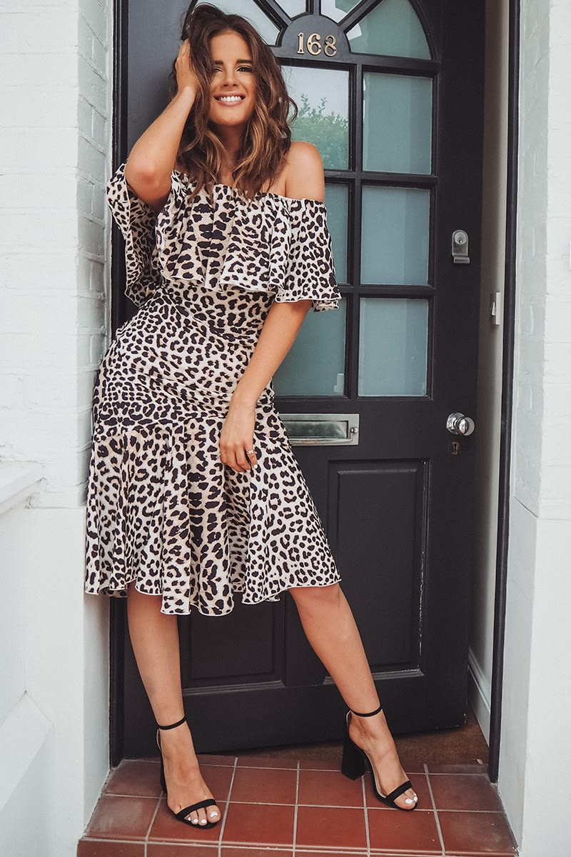 BINKY BROWN LEOPARD PRINT BARDOT MIDI DRESS