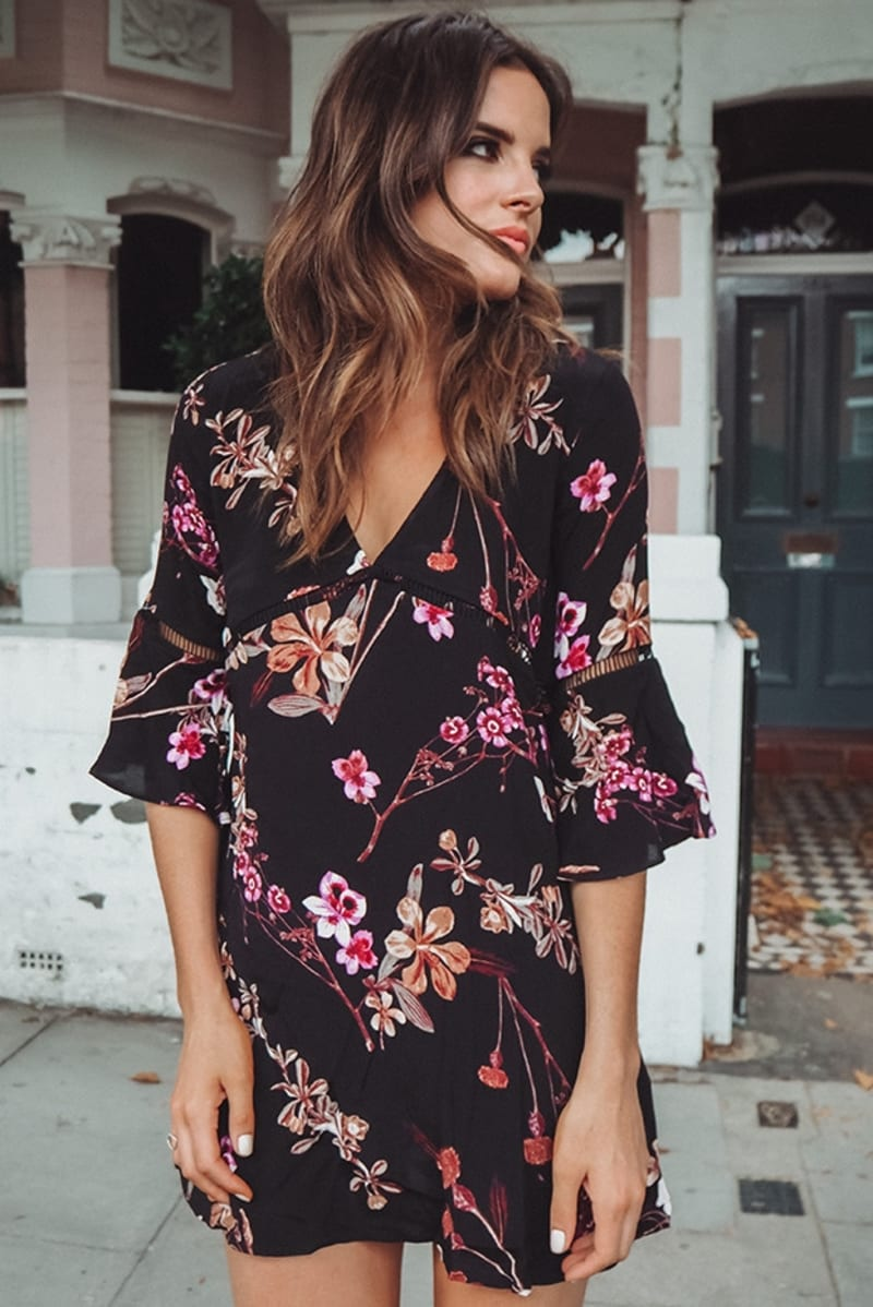 BINKY BLACK FLORAL SHIFT DRESS