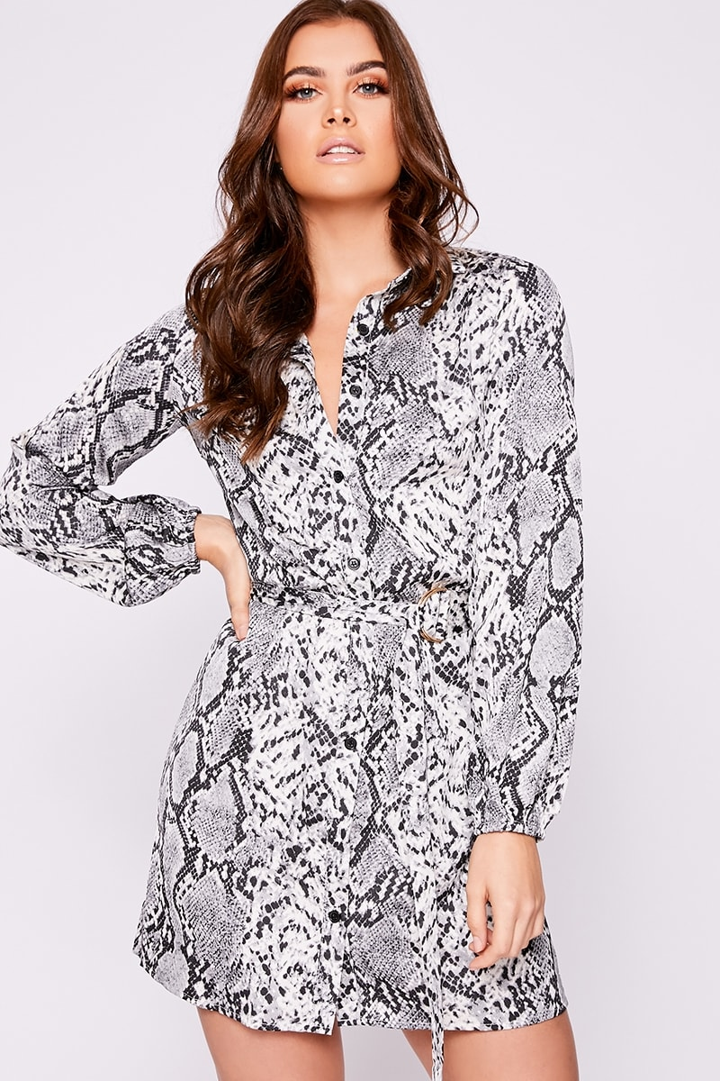 grey snakeskin belted shirt dress