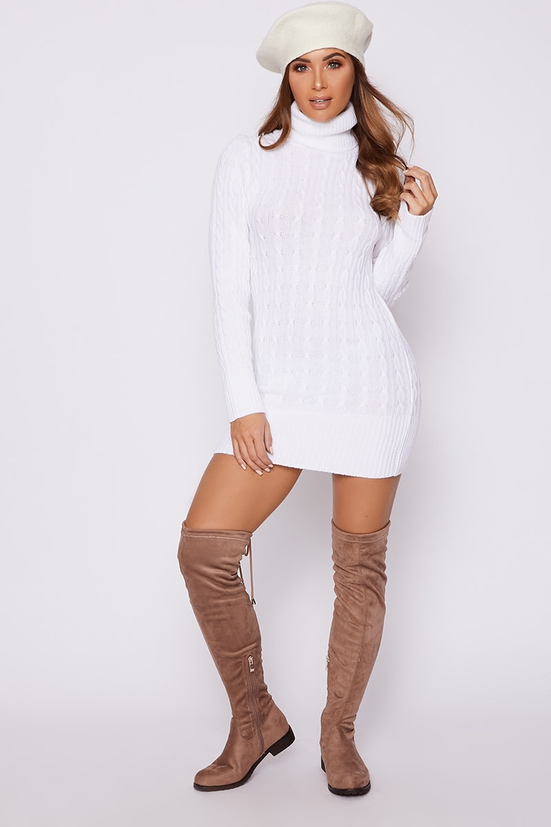 white cable knit roll neck jumper dress