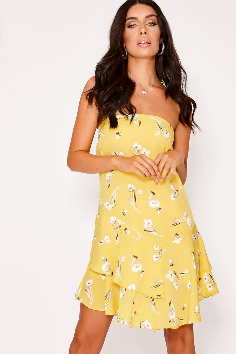 ELEASE YELLOW FLORAL BANDEAU FRILL HEM DRESS