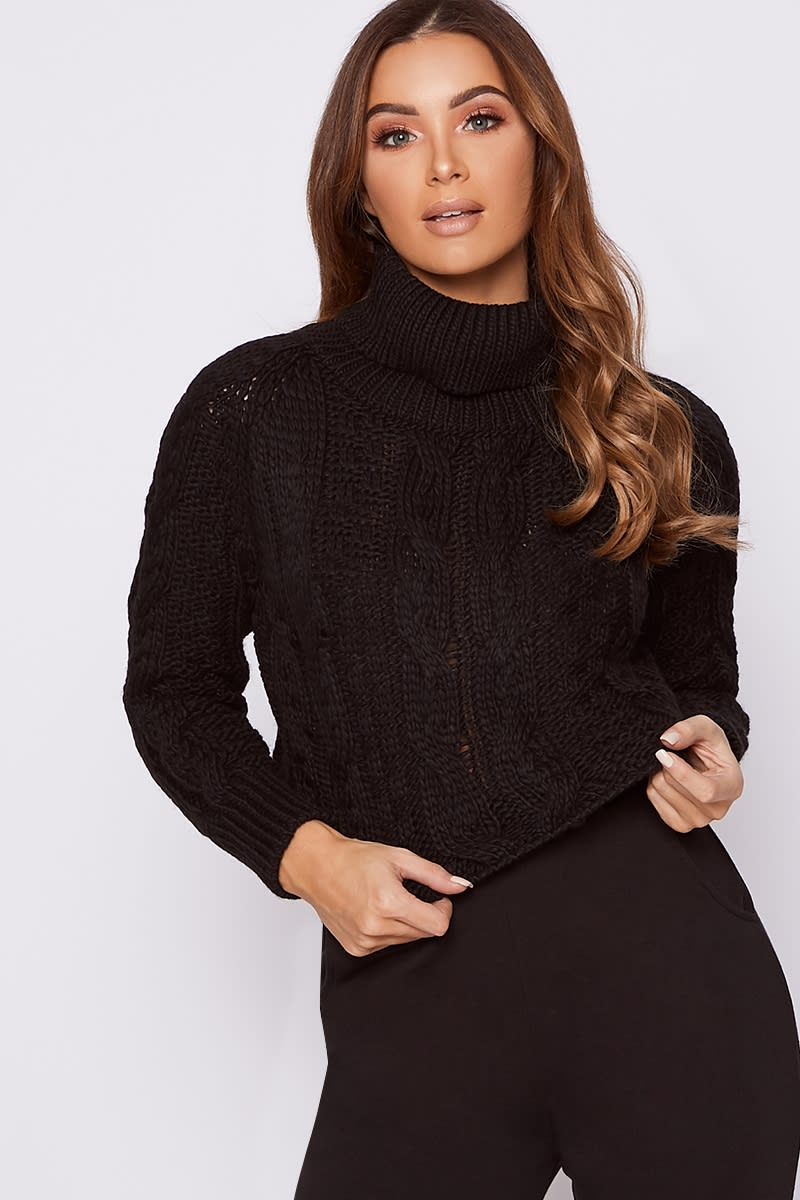 black roll neck cable knit cropped jumper